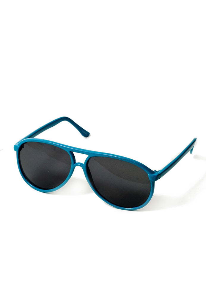 Neon Bright Aviator Shades Blue
