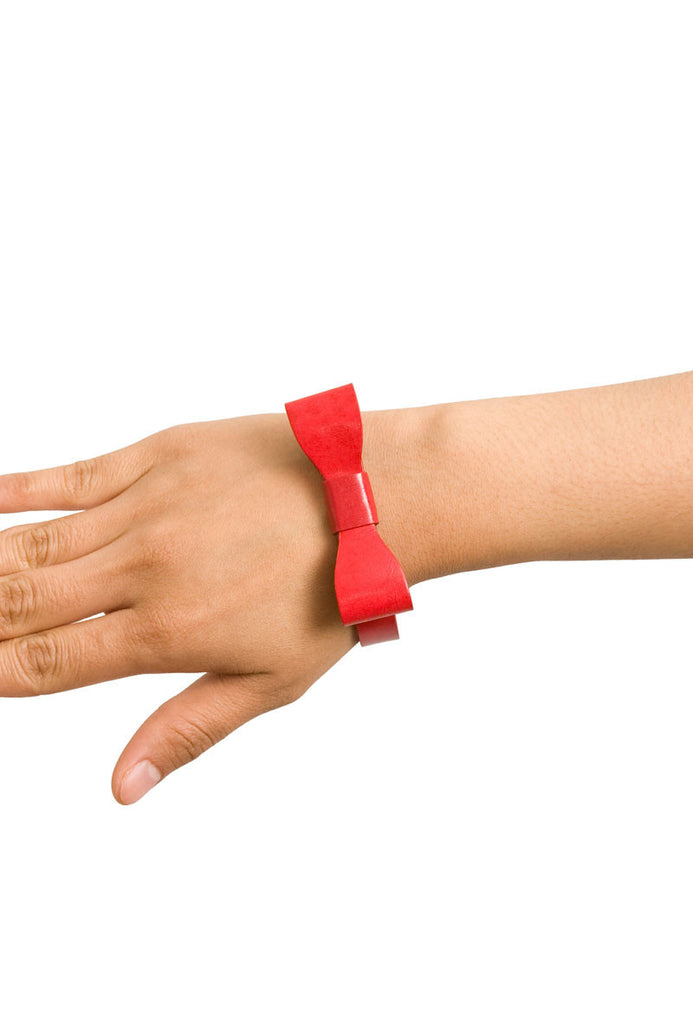 Red Bow Leatherette Bracelet