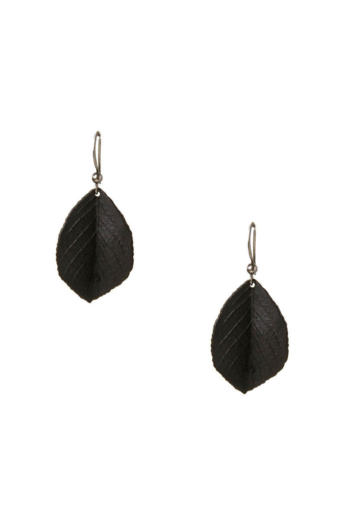 Black Leaf Earrings Main