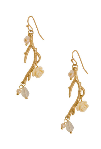 Lacquered Flower Branch Earrings