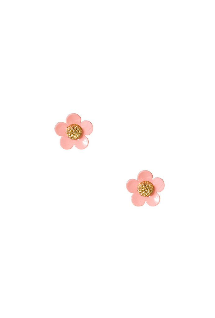 Floral Stud Earrings Pink
