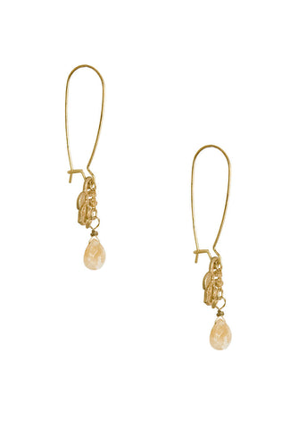 Honey Allure Leaf and Glass Drop Earrings