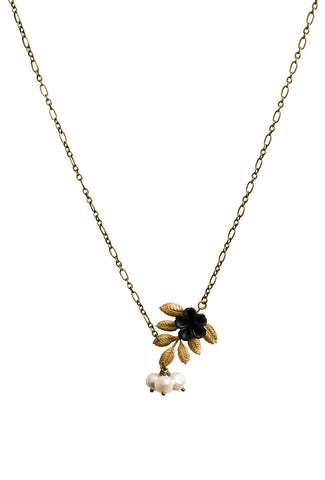 Carries Branch and Pearl Necklace with Black Flower
