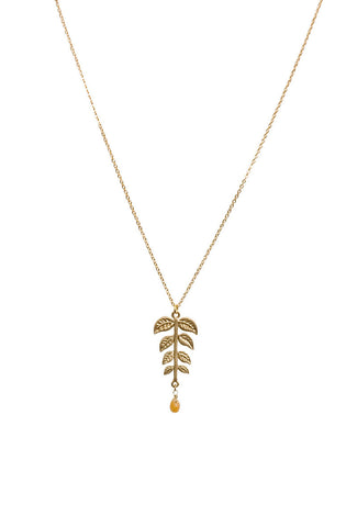 Mellow Yellow Leafy Branch Necklace with Stone Drop