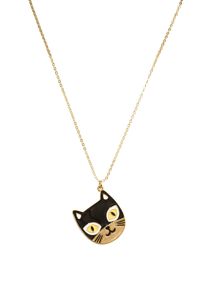 Cats Meow Charm Necklace Black