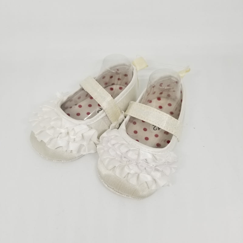 White Ruffle Baby Shoe