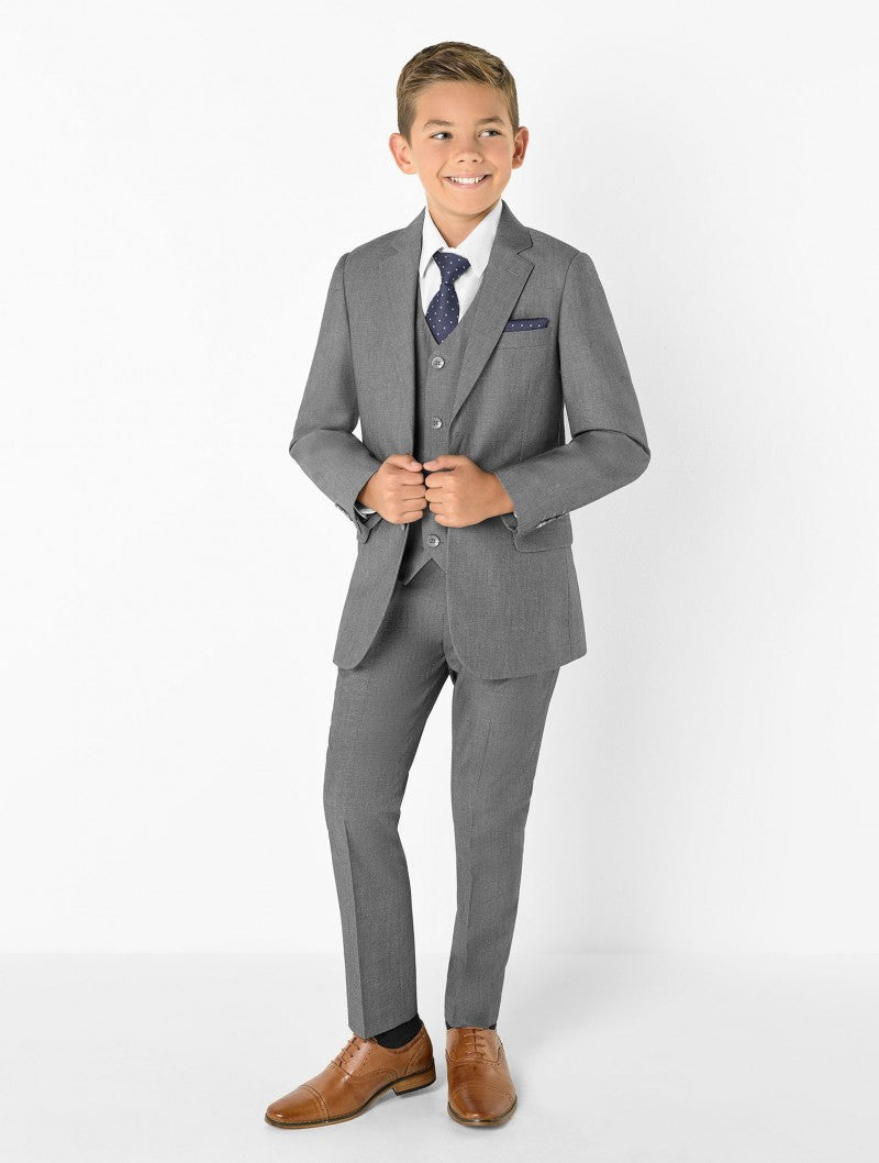 Boys 5 Piece Formal Suit - Light Grey