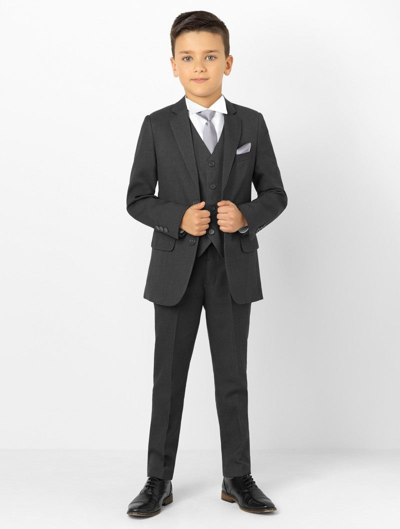 Boys 5 Piece Formal Suit - Charcoal