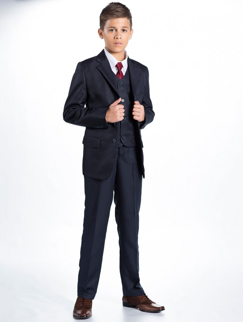 Boys 5 Piece Formal Suit - Dark Navy