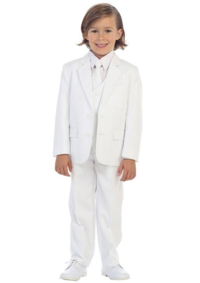 Boys 5 Piece Formal Suit - White