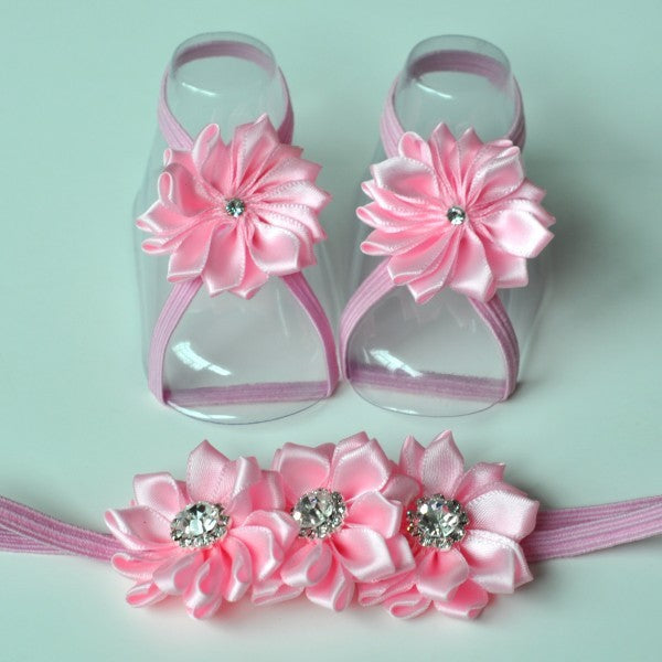 Satin Barefoot Baby Sandals with Matching Headband