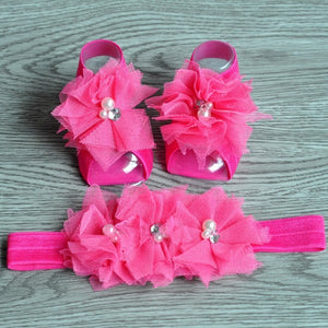Tulle Barefoot Baby Sandals with Matching Headband