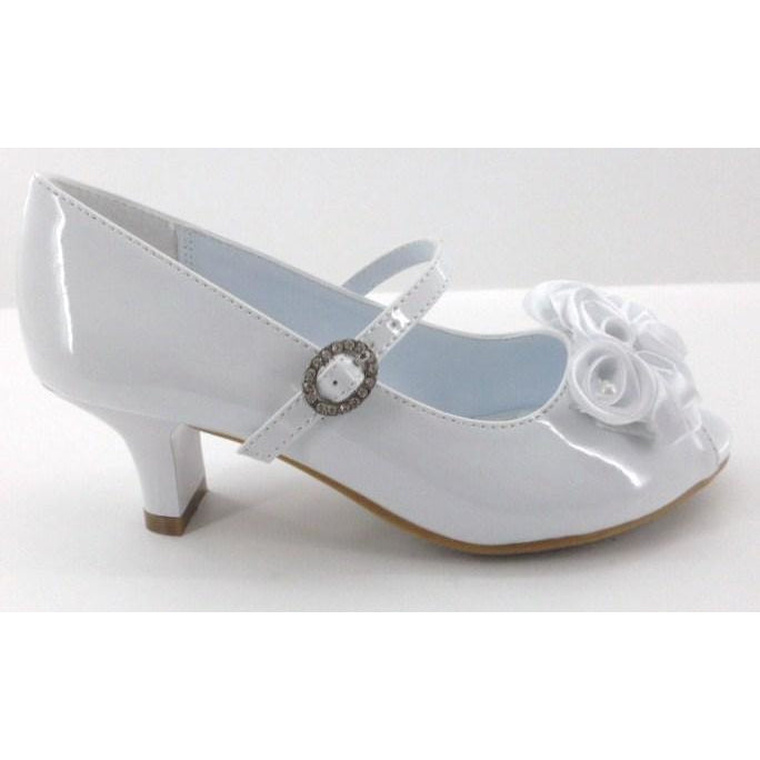 White Heel Peep Toe Shoe