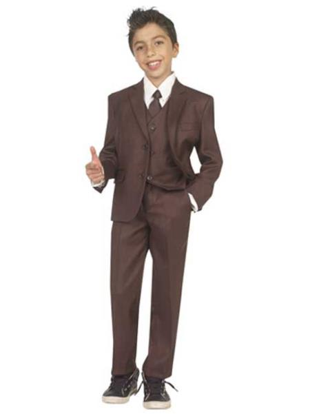 Boys 5 Piece Formal Suit - Brown