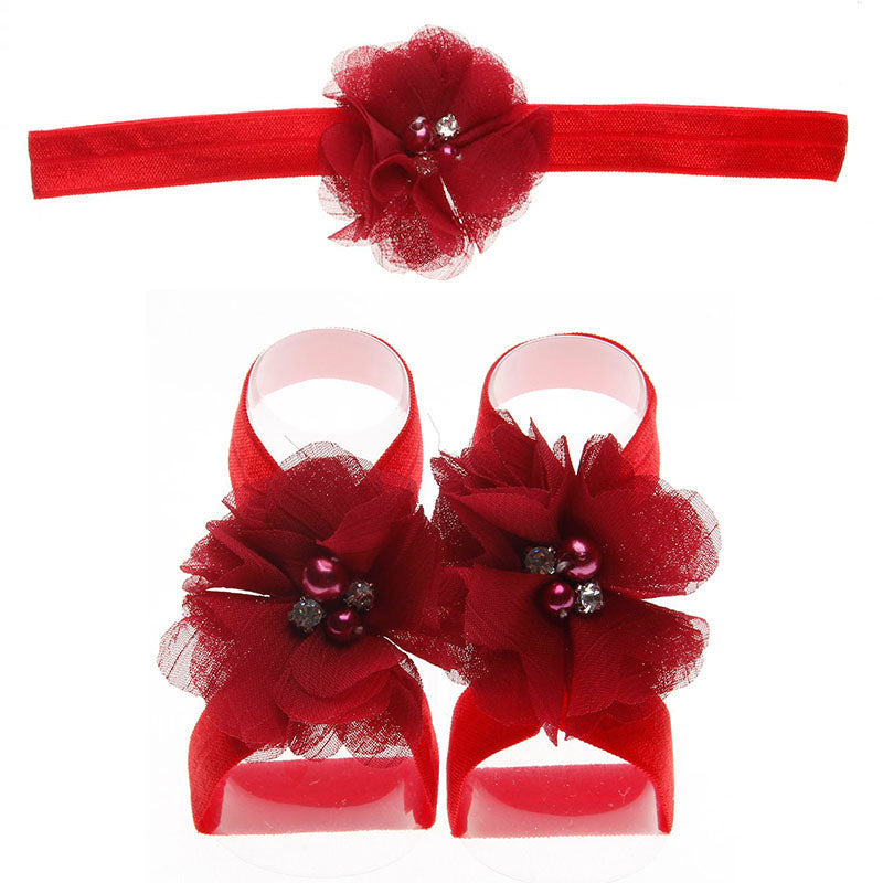 Chiffon Barefoot Baby Sandals with Matching Headband
