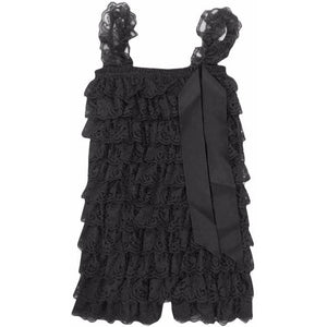 Ruffled Lace Romper - Black