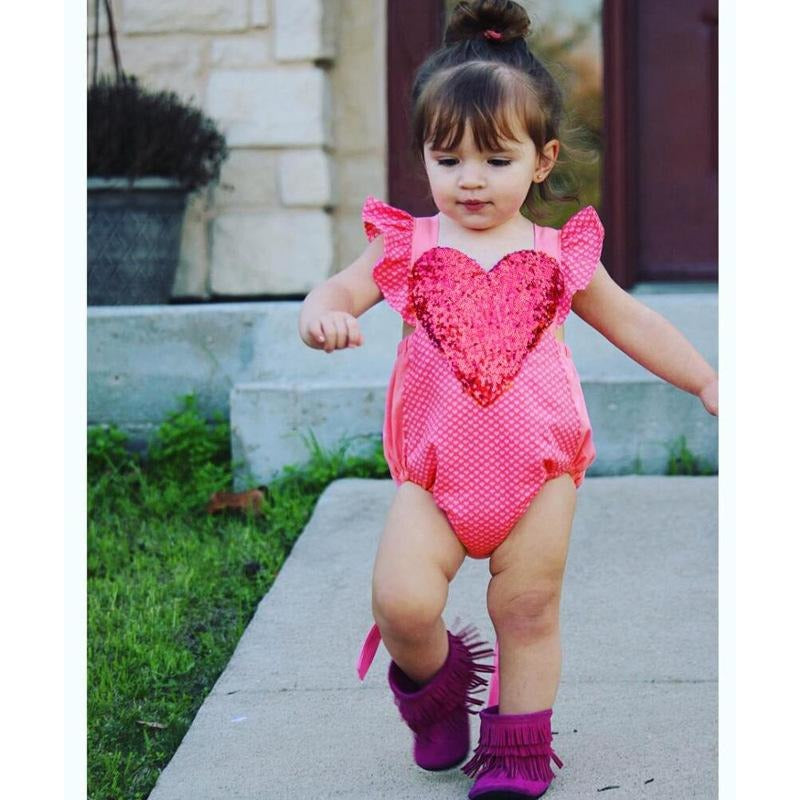 1st Birthday Heart Romper
