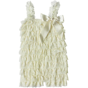 Ruffled Lace Romper - Ivory