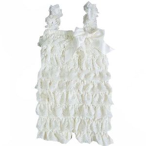 Ruffled Lace Romper - White