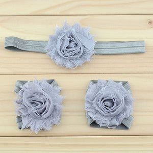 Shabby Rosette Barefoot Baby Sandals with Matching Headband