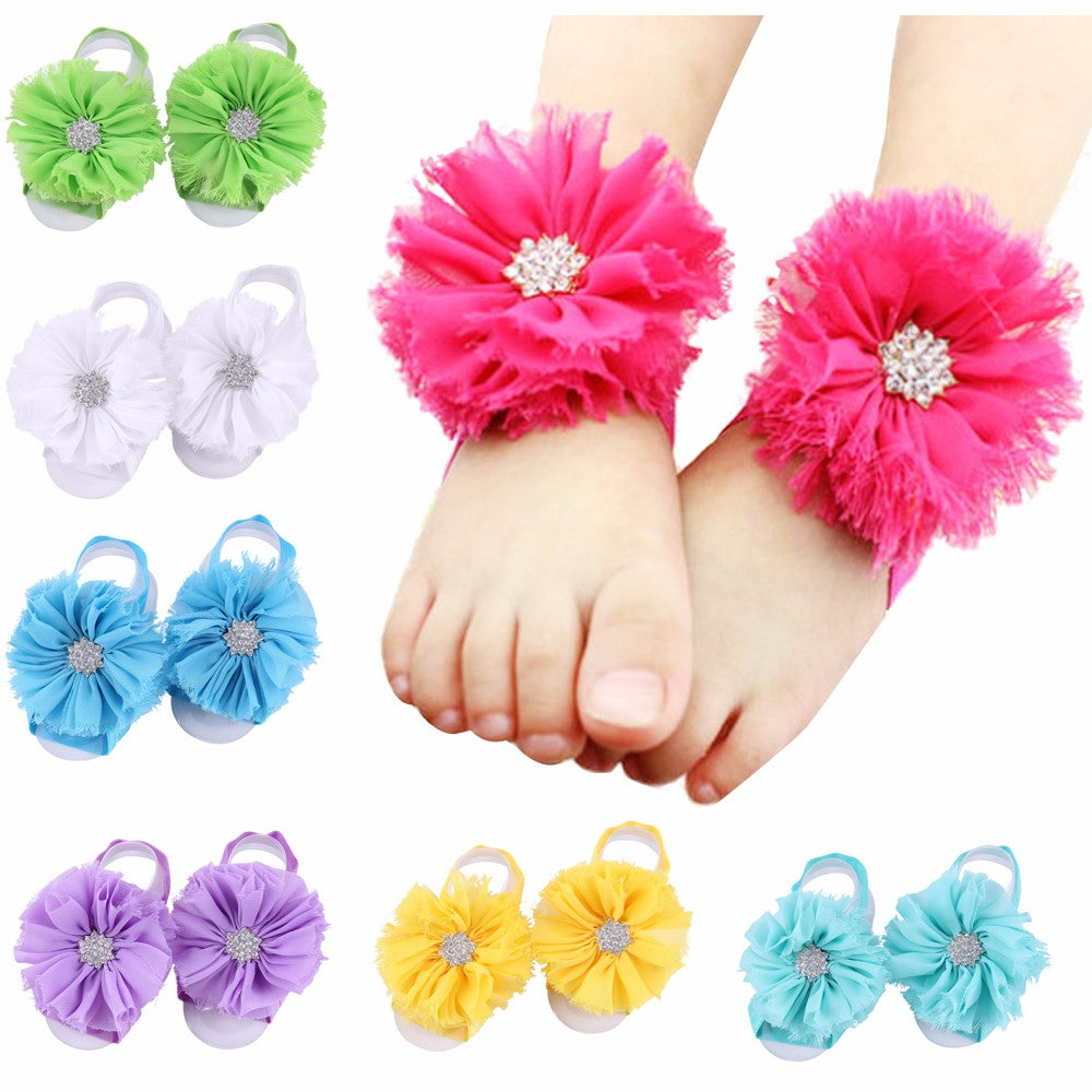 Starburst Barefoot Baby Sandals with Matching Headband