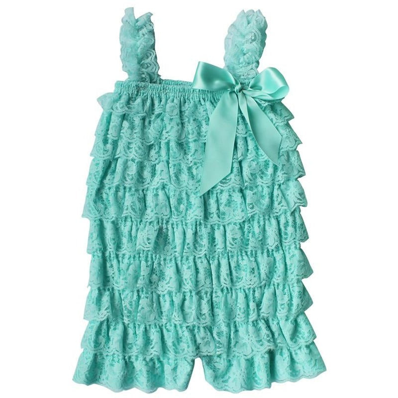 Ruffled Lace Romper - Mint