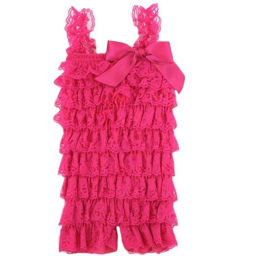Ruffled Lace Romper - Hot Pink
