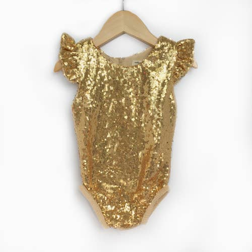 Gold Flutter Sequin Bodysuit