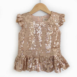 Blush Sequin Peplum Top