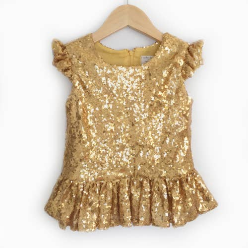 Gold Sequin Peplum Top