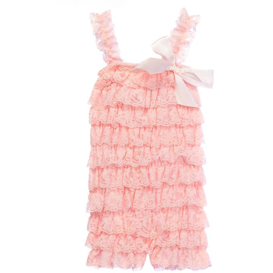Ruffled Lace Romper - Peach