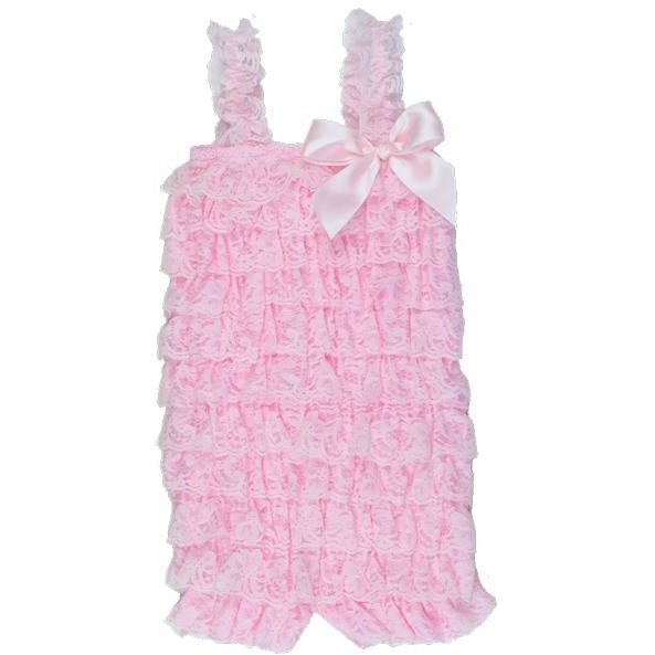 Ruffled Lace Romper - Light Pink