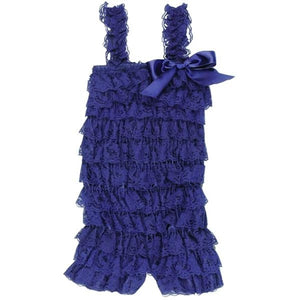 Ruffled Lace Romper - Navy