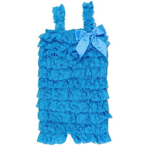 Ruffled Lace Romper - Turquoise