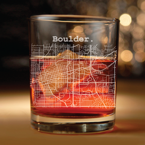 Boulder Colorado Street map etched on whiskey glass -(Boulder, Colorado, University of Colorado, Boulderado)