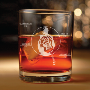 Johnny Cash inspired rocks glass(Folsom Prison Boy named sue Ring of Fire, Walk the line)