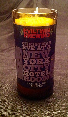 Evil Twin Brewing Christmas Eve at a New York City Hotel Room Beer Bottle Candle