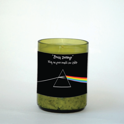 "Pink Floyd's ""Brain Damage"" Inspired 8oz scented upcycled wine bottle candle with all natural soy wax."