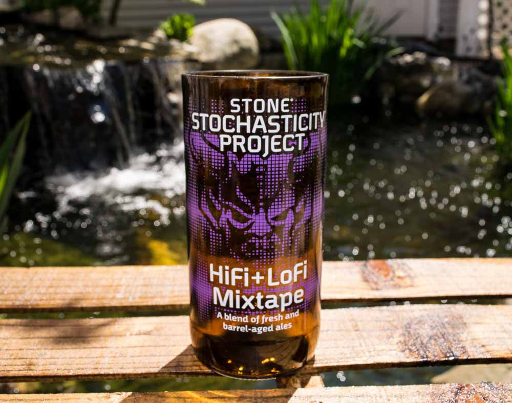 Stone Brewing Companies Stochasticity Project HiFi+LoFi Mixtape Recycled Beer Bottle Drinking Glass