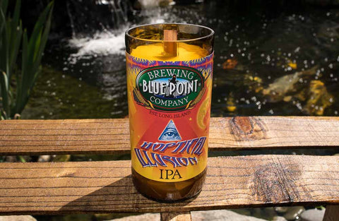 Blue Point Brewing Company Hoptical Illusion IPA Beer Bottle Candle