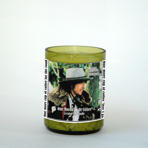 "Bob Dylan ""One more cup of coffee"" Inspired scented upcycled wine bottle and all natural soy wax."