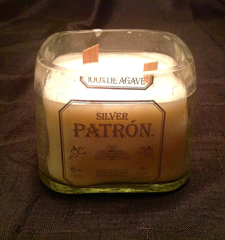 Patron Silver Tequila Liquor Bottle Candle