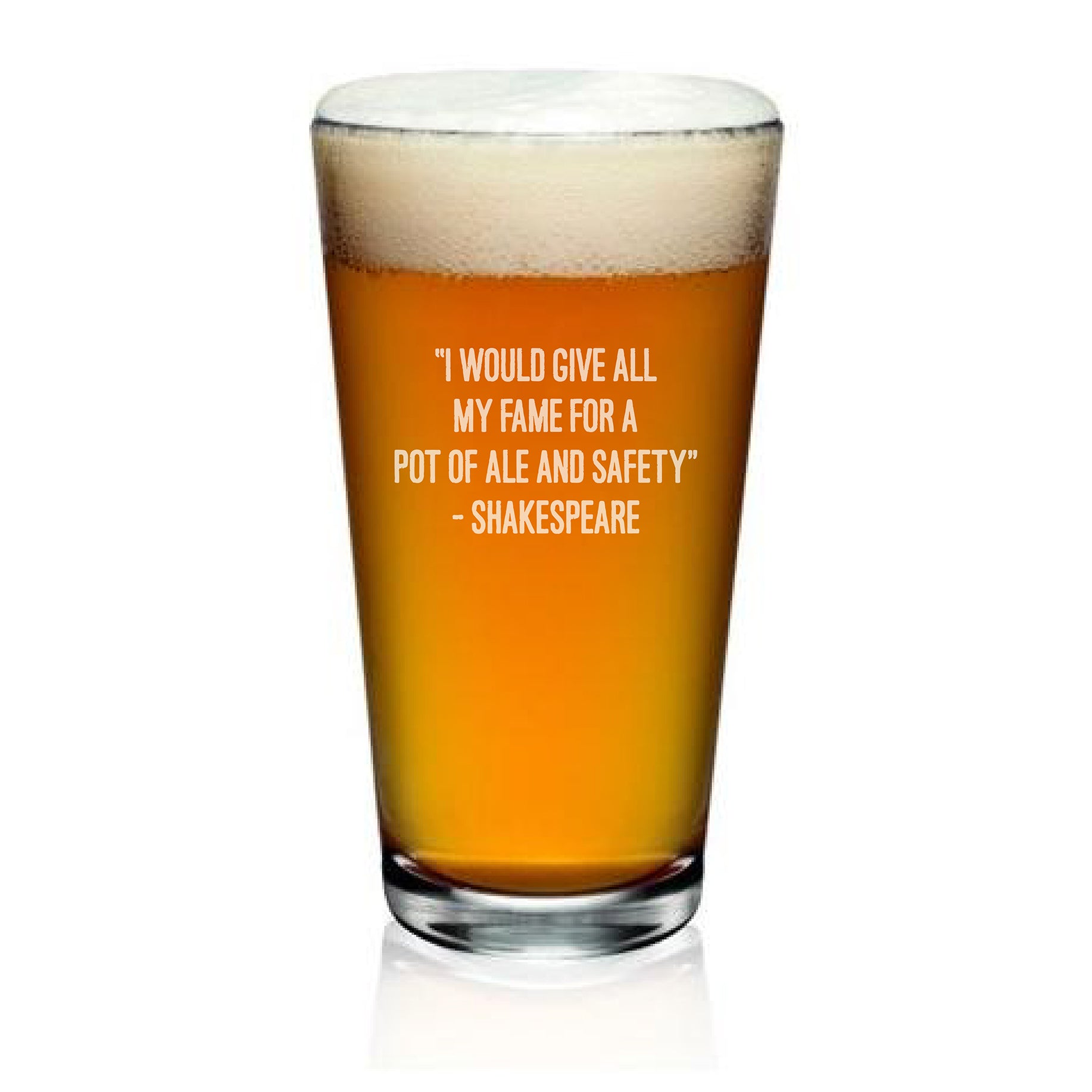 Pint Glass With Shakespeare quote from Henry V