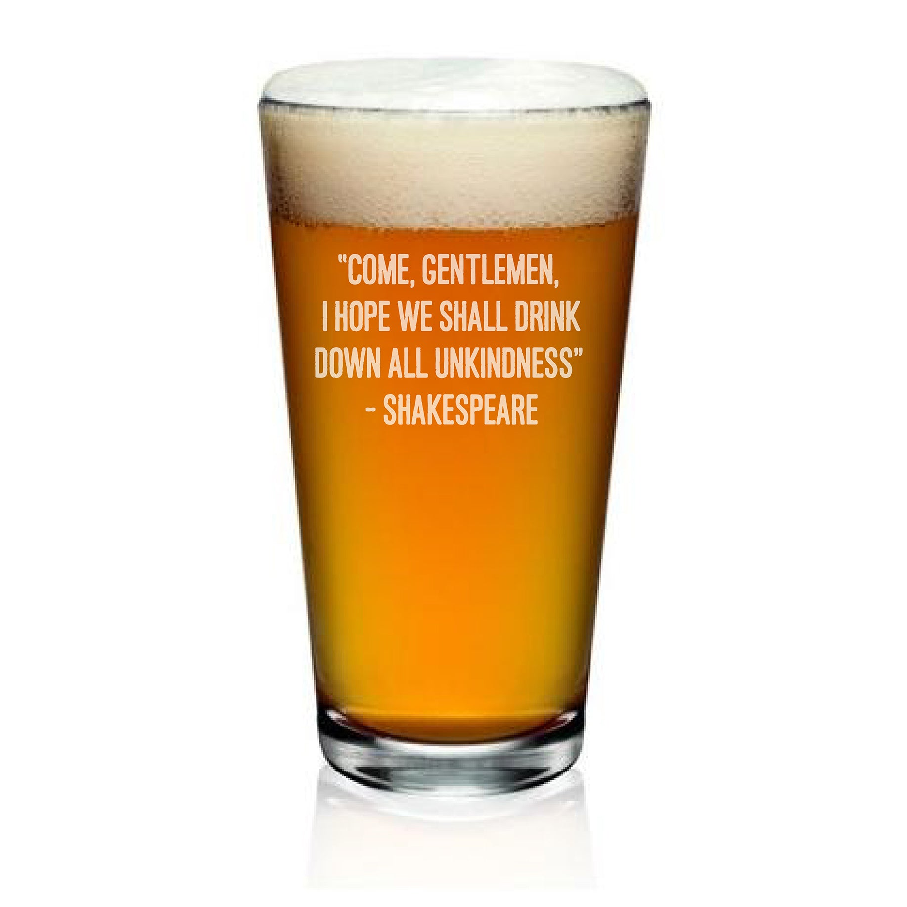 Pint Glass With Shakespeare quote from Othello