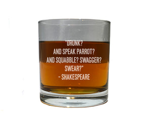 Shakespeare quote from Othello Whiskey glass