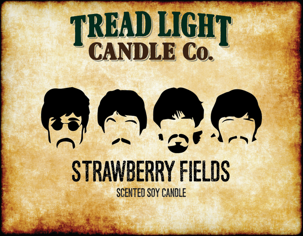 "The Beatles ""Strawberry Fields"" Inspired WINE BOTTLE CANDLE WITH ALL NATURAL SOY WAX - 9OZ"