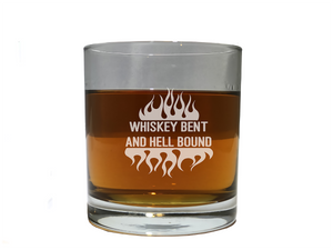 Whiskey Bent and Hell Bound drinking glass
