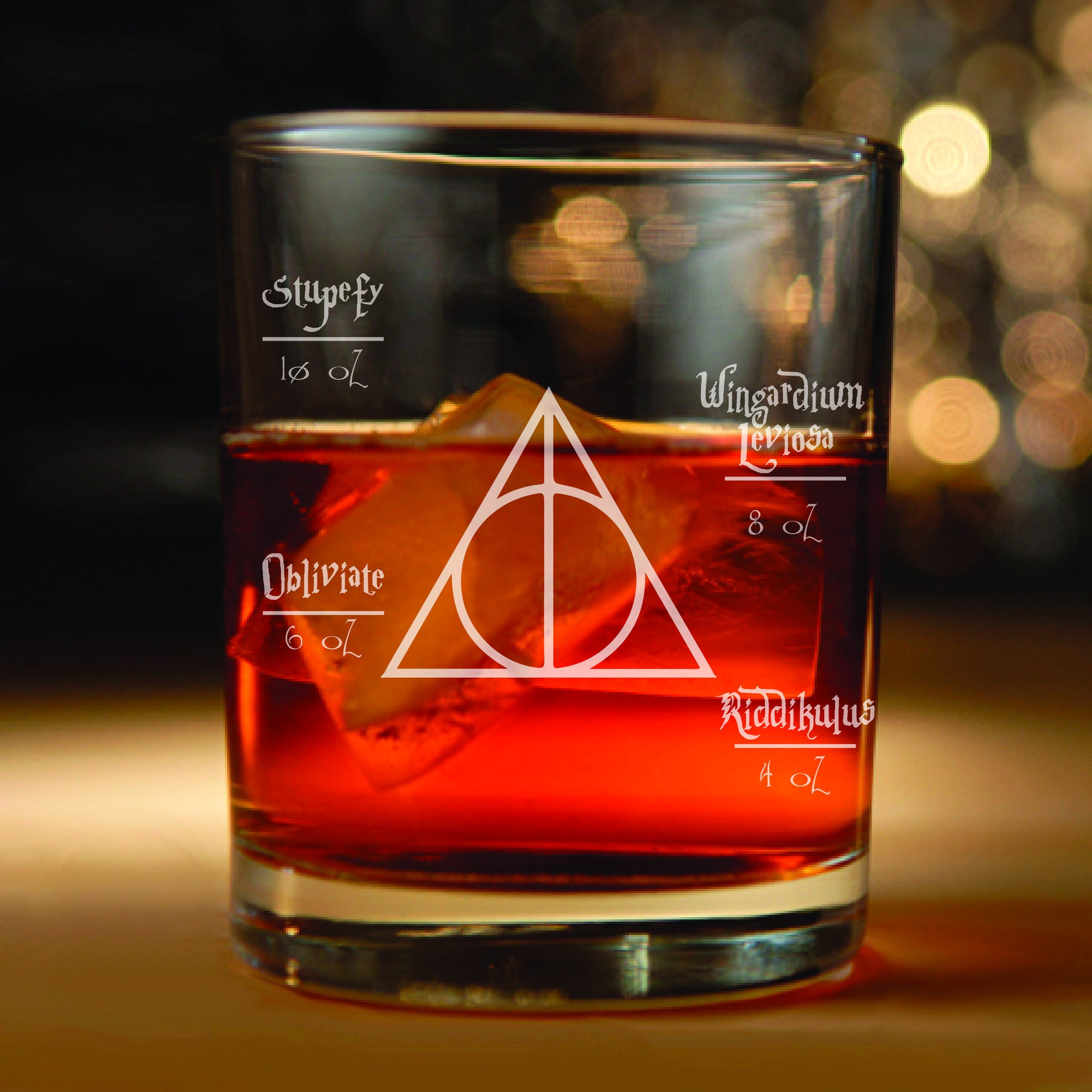 Harry Potter inspired Rocks Glass (Harry Potter, Deathly Hollows, Harry Potter Gifts, Harry Potter spells, Hogwarts)