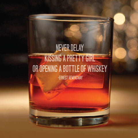 Rocks glass w/ Ernest Hemingway quote Set of two - Ernest Hemingway, inspirational quote, Hemingway quotes, whiskey glasses, whiskey glass
