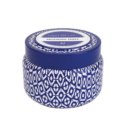 Modern Mint Printed Travel Tin 8.5 oz candle